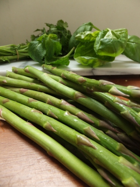 Asparagus and fresh herbs