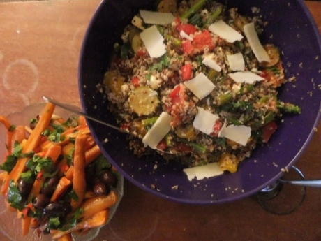 Quinoa Everything Salad + Roasted Carrot Chilli Salad