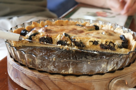 prune studded tart