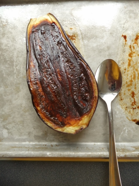 Hot roasted eggplant
