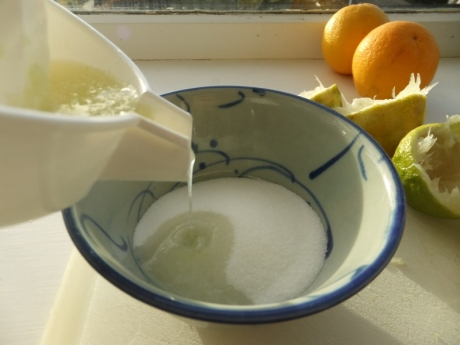 lime juice and sugar syrup