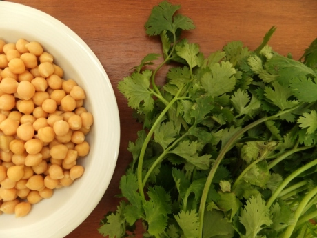 chickpeas and coriander